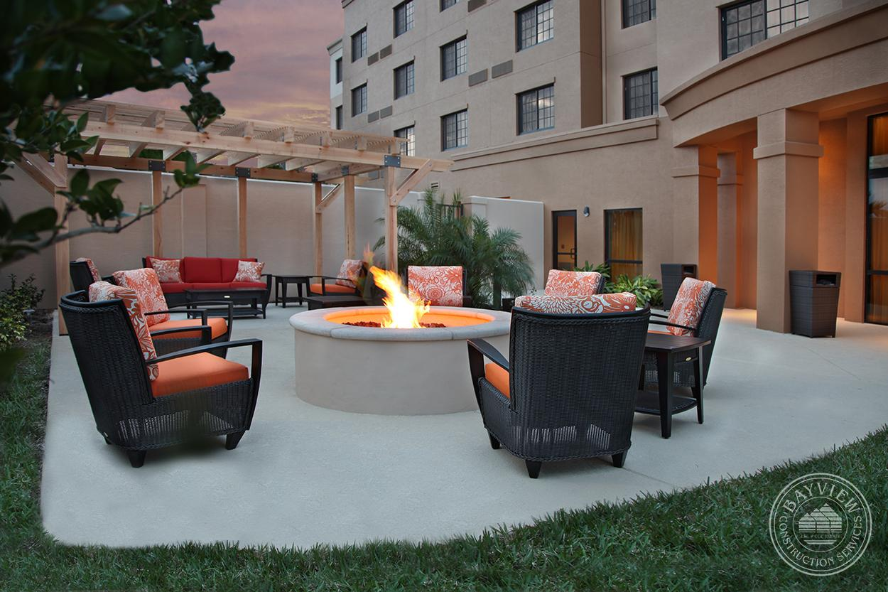 courtyard by Marriott Outdoor seating with fireplace